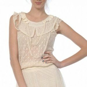 New A'Reve Lace Collar Sleeveless Top Cream S M L